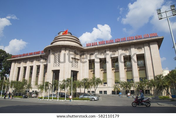 Hanoi, Vietnam - Feb 18, 2017: Building of The State Bank of Viet Nam in Hanoi capital. The State Bank of Vietnam is the central bank of Vietnam and known as the Indochina Bank in the past.
