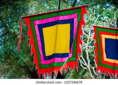 HANOI, VIETNAM  - FEB  21, 2019: Vietnamese five elements banner in a temple in Hanoi on Tet/ lunar new year festival