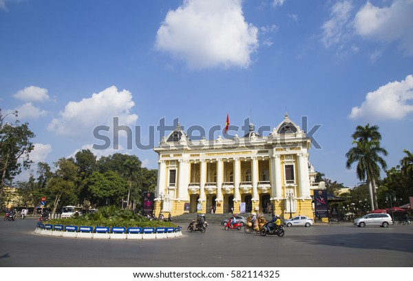 Hanoi, Vietnam - Feb 28, 2017: Front view of Hanoi Opera House in Hanoi capital. The house was built by French in 1901 and now still is the place for big cultural events.