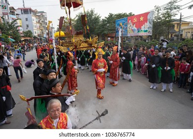 Hanoi, Vietnam - Feb 5, 2017: A traditional spring festival in Trieu Khuc village in Hanoi, Vietnam, with many traditional ancient rites and activities.