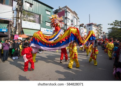 HANOI, VIETNAM - FEB 5, 2017: A traditional spring festival in Trieu Khuc village in Hanoi, Vietnam. This is an ancient traditional festival with many colorful activity.