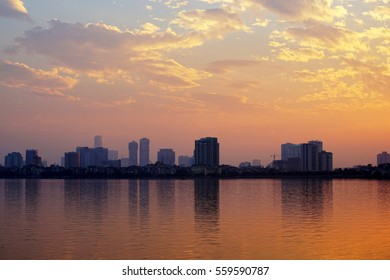 HANOI, VIETNAm - JAN 14 : Sunset on West lake at Hanoi, Vietnam on January 14, 2017