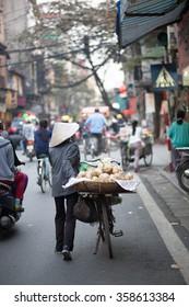 hanoi, vietnam, jan3 2016: Street vendors in Hanoi's Old Quarter( Pho co Hanoi). this is culture of hanoi