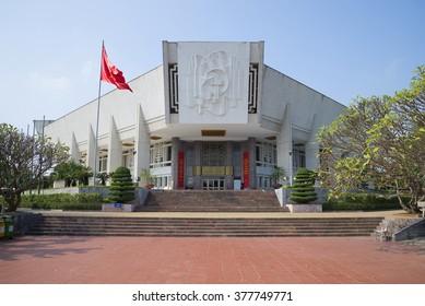 HANOI, VIETNAM - JANUARY 10, 2016: Central Ho Chi Minh Museum in Hanoi Sunny day