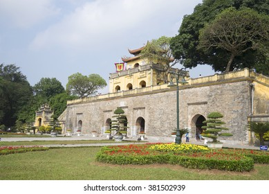 HANOI, VIETNAM - JANUARY 10, 2016: View of the front Bastion with the main gate. The ancient citadel of Hanoi