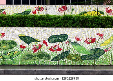 Hanoi, VIETNAM - JANUARY 12, 2015 - Ceramic mosaic mural in Hanoi