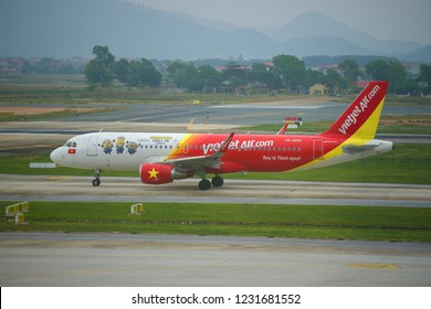 HANOI, VIETNAM - JANUARY 12, 2016: Airbus A320-200 (VN-A650) of VietJetAir airlines close-up on the Noi Bai airport