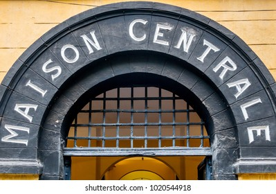 """HANOI, VIETNAM - JANUARY 19, 2018 :  Hoa Lo Prison entrance.""""Hilton"""" prison  was used by the French colonists , and later by North Vietnam for U.S. Prisoners of War during the Vietnam War."""