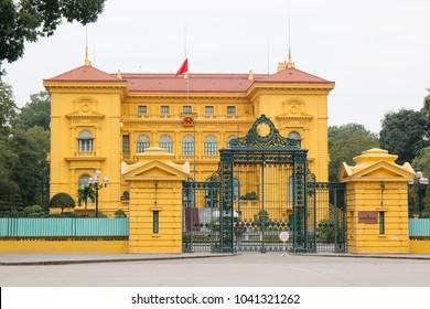 Hanoi, Vietnam - January 20, 2018: Ho Chi Minh Presidential Palace in Hanoi city