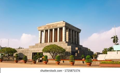 HANOI, VIETNAM- JANUARY, 2019: Ho Chi Minh's Mausoleum (Lang Chu Tich Ho Chi Minh) is the resting place of Vietnamese Revolutionary leader Ho Chi Minh, Hanoi Vietnam.