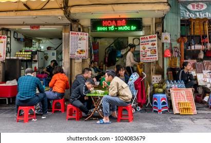 HANOI, VIETNAM - JANUARY 21, 2018 : Street café in old quarter of Hanoi, Vietnam.