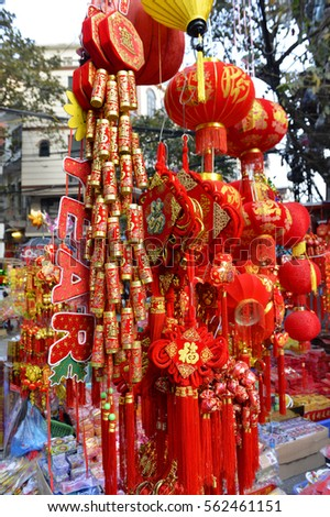 Hanoi, Vietnam - January 23, 2017 : souvenirs, gift and decoration for Vietnamese