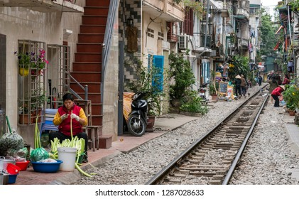 Hanoi, Vietnam - January 4, 2018: people in the old town of Hanoi, capital of Vietnam.