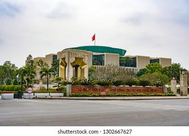 Hanoi ,Vietnam - January 4, 2018: Quang Truong Ba Dinh (Plaza Ba Ding), and Vietnam Parliament House.