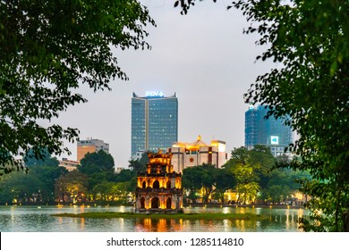 Hanoi, Vietnam - January 5, 2019: Hanoi lake at sunset, Vietnam