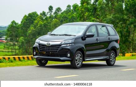 Hanoi, Vietnam - Jul 11, 2019: Toyota Avanza 2019 MPV car, taken within a test drive. Toyota Motor is a Japanese automotive manufacturer headquartered in Toyota, Aichi, Japan.