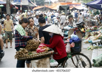 hanoi, vietnam, July 15, 2016: street vendors in Hanoi's Old Quarter ,it's one of culture in hanoi, they sell everything in the street
