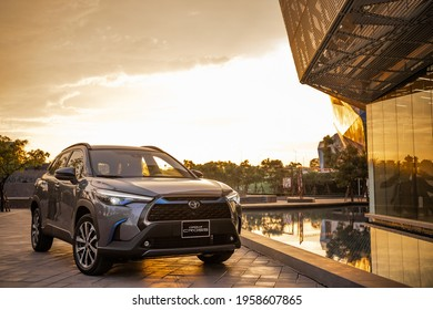 Hanoi, Vietnam - July 29, 2020: All-new Toyota Corolla Cross car with 1.8 litre hybrid engine in a test drive in Vietnam.