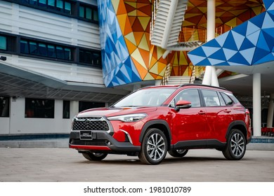 Hanoi, Vietnam - July 29, 2020: All-new Toyota Corolla Cross car is in a test drive in Vietnam.