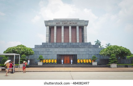 HANOI, VIETNAM - JUNE 11, 2016 - Ho Chi Min mausoleum is a large memorial in downtown Hanoi. It houses the embalmed body of former Vietnamese leader president Ho Chi Minh