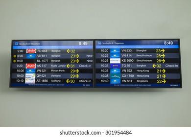 Hanoi, Vietnam - June 26, 2015: Flight timetable board at Noi Bai International Airport