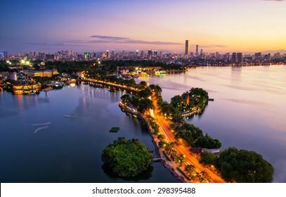 Hanoi, Vietnam - June 29, 2015: Aerial view of Hanoi skyline cityscape near Thanh Nien street at sunset time