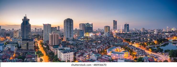 Hanoi, Vietnam - June 30, 2016:Aerial view of Hanoi skyline cityscape at sunset time