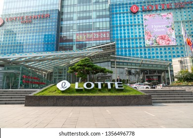 Hanoi, Vietnam - Mar 21, 2019: Facade view of Lotte Center Hanoi at Dao Tan - Lieu Giai street, with logo sign and advertisement banners