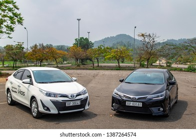 Hanoi, Vietnam - Mar 21, 2019: Toyota Vios and Corolla Altis cars is on the test roads in a test drive, Vietnam