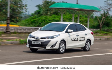Hanoi, Vietnam - Mar 21, 2019: Toyota Vios car is on the test road in a test drive, Vietnam.