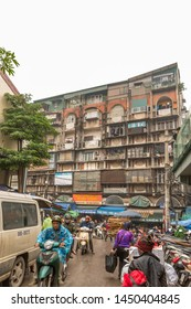 Hanoi / Vietnam - March 16 2019:  Old apartments where the local people live.