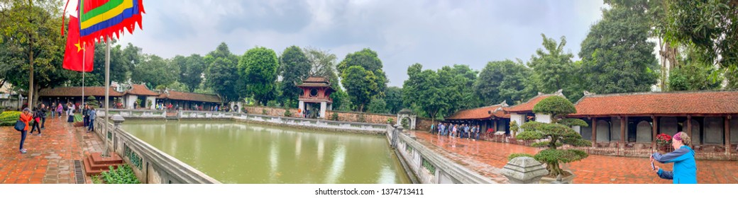 Hanoi, Vietnam - March 19, 2019 :  Tourists at One Pillar Pagoda  in Hanoi, Vietnam.