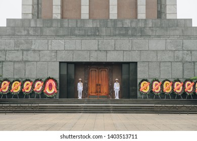 Hanoi, Vietnam : March-26-2019 : In front of Ho Chi Minh Mausoleum with military honour guard, located at Ba Dinh square in Hanoi the capital cities of Vietnam.
