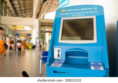 HANOI, VIETNAM - MAY 11, 2015: self check-in kiosk in Noi Bai International Airport. Noi Bai International Airport is the largest airport in Vietnam. It is the main airport serving Hanoi