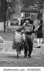 hanoi, vietnam, May 11, 2016: early morningin Hanoi Old quarter. Typical street vendors in Hanoi's Old Quarter( Pho Co Hanoi) This is vietnam's Culture