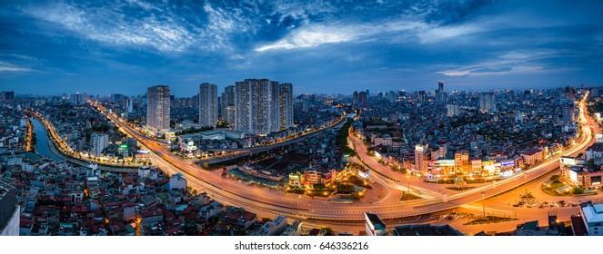 Hanoi, Vietnam - May 16, 2017: Aerial view of Hanoi skyline cityscape at sunset time