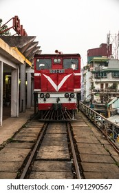 HANOI, VIETNAM, MAY 27, 2018: Red Train locomotive coming to Long Bien railway station, Hanoi, Vietnam