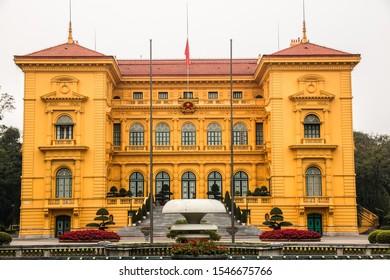 HANOI, VIETNAM, MAY 27, 2018: Ho Chi Minh Presidential Palace in Hanoi city, Vietnam