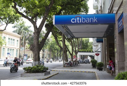 Hanoi, Vietnam - May 28, 2016: Front view of the brand of Citibank commercial bank in Hanoi. Citibank was founded in 1812 as the City Bank of New York, later First National City Bank of New York.