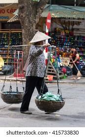 Hanoi, Vietnam - May 2nd, 2016: Life in Vietnam- Hanoi,Vietnam Street vendors in Hanoi's Old Quarter