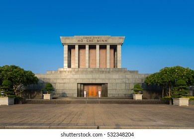 HANOI, VIETNAM - NOV 06, 2016 - Ho Chi Min mausoleum is a large memorial in downtown Hanoi surrounded by Ba Dinh Square. It houses the embalmed body of former Vietnamese leader president Ho Chi Minh