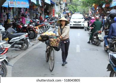 Hanoi, Vietnam, Nov 11, 2016: Life in Vietnam- Hanoi,Vietnam Street vendors in Hanoi's Old Quarter