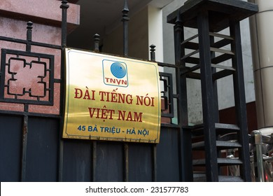 Hanoi, Vietnam - Nov 16, 2014: Sign on entrance of Voice of Vietnam office on Ba Trieu street