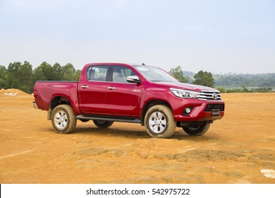 Hanoi, Vietnam - Nov 17, 2016: Toyota Hilux 2016 all new car is running on the test offroad in Vietnam.