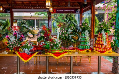Hanoi/ Vietnam- Nov. 17 2019: Gifts for a  proposal and engagement ceremonies in Vietnam. Traditional gifts should have betel leaf with areca nut, jewelry, roasted pig, bean cake,