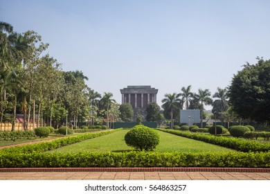 Hanoi, Vietnam - November 12, 2016: The Ho Chi Minh Mausoleum in centre of the Ba Dinh Square