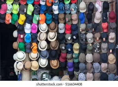 Hanoi Vietnam November 14 2016 a hat shop in Hangbai street, Hanoi, Vietnam