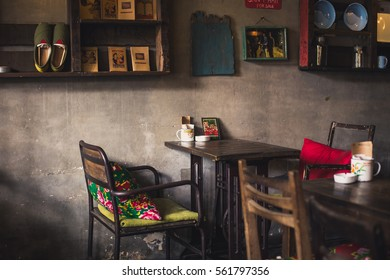 Hanoi, Vietnam - November 14, 2016: details of the interior in  Cong Ca Phe cafe in the centre of Hanoi, very popular place for vietnamese coffee