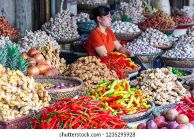 HANOI, VIETNAM - NOVEMBER 16, 2018: Fruit and vegetable market in Hanoi, Old Quater,Vietnam, Asia.