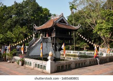 Hanoi, Vietnam - November 18 2020: The exterior of One Pillar Pagoda in Hanoi.